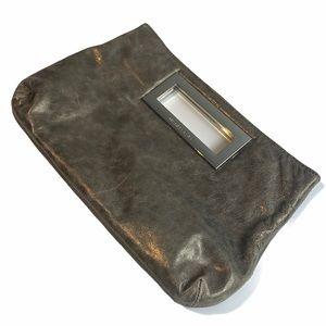 Michael Kors Berkley Leather Clutch Silver